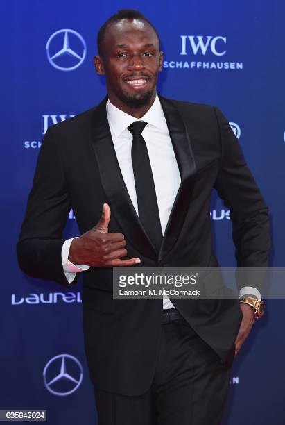 Laureus World Sportsman of the Year Award nominee Athlete Usain Bolt of Jamaica attends the 2017 Laureus World Sports Awards at the Salle des...