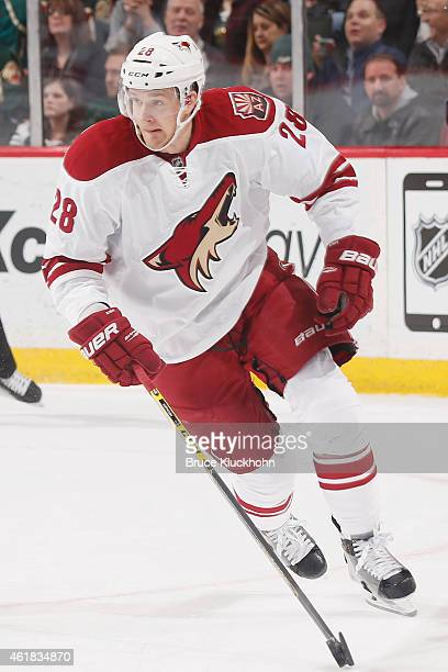 Lauri Korpikoski of the Arizona Coyotes skates with the puck during the game against the Minnesota Wild on January 17 2015 at the Xcel Energy Center...