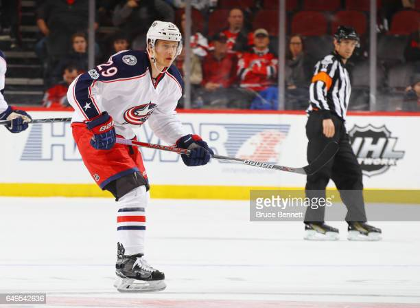 Lauri Korpikoski of the Columbus Blue Jackets skates against the New Jersey Devils at the Prudential Center on March 5 2017 in Newark New Jersey The...