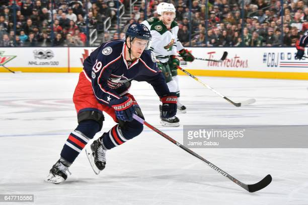 Lauri Korpikoski of the Columbus Blue Jackets skates against the Minnesota Wild on March 2 2017 at Nationwide Arena in Columbus Ohio