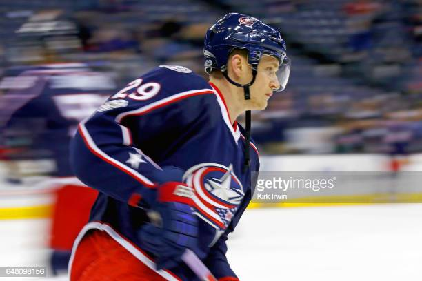 Lauri Korpikoski of the Columbus Blue Jackets warms up prior to the start of the game against the Minnesota Wild on March 2 2017 at Nationwide Arena...