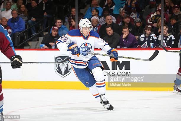 Lauri Korpikoski of the Edmonton Oilers skates against the Colorado Avalanche at the Pepsi Center on December 19 2015 in Denver Colorado
