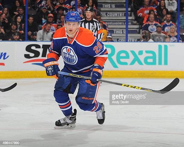 Lauri Korpikoski of the Edmonton Oilers skates during a game against the Los Angeles Kings on October 25 2015 at Rexall Place in Edmonton Alberta...