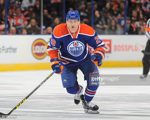 Lauri Korpikoski of the Edmonton Oilers skates during a game against the Winnipeg Jets on February 13 2016 at Rexall Place in Edmonton Alberta Canada
