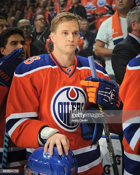 Lauri Korpikoski of the Edmonton Oilers stands for the sing of national anthem prior to a game against the St Louis Blues on October 15 2015 at...