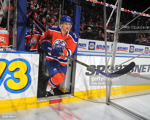 Lauri Korpikoski of the Edmonton Oilers steps onto the ice prior to a game against the Winnipeg Jets on December 21 2015 at Rexall Place in Edmonton...