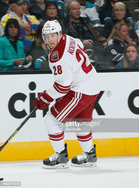 Lauri Korpikoski of the Phoenix Coyotes looks to an open teammate against the San Jose Sharks during an NHL game on November 2 2013 at SAP Center in...