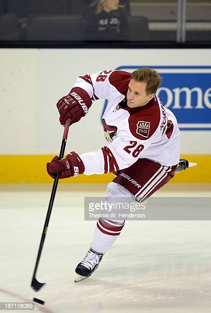 Lauri Korpikoski of the Phoenix Coyotes skates during pregame warm ups prior to playing the San Jose Sharks at SAP Center on November 2 2013 in San...