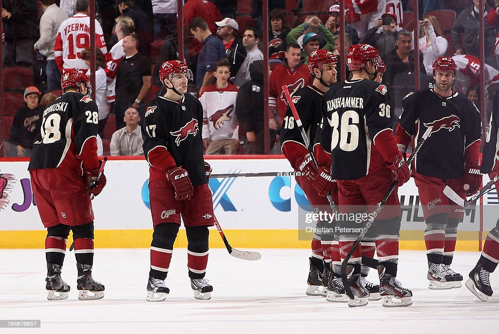 Lauri Korpikoski #28, Radim Vrbata #17, Rostislav Klesla #16, Rob Klinkhammer #36 and Kyle Chipchura #24 of the Phoenix Coyotes skate off the ice following the NHL game against the Detroit Red Wings at Jobing.com Arena on March 25, 2013 in Glendale, Arizona. The Red Wings defeated the Coyotes 3-2.