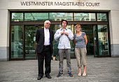 Lauri Love poses for a photograph with his parents Alexander Love and SirkkaLiisa Love as he arrives at Westminster Magistrates Court for his...