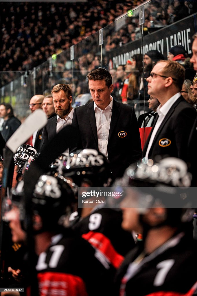 Lauri Marjamaki, the head coach of Karpat Oulu during the Champions Hockey League final between Karpat Oulu and Frolunda Gothenburg at Oulun Energia-Areena on February 9, 2016 in Oulu, Finland.
