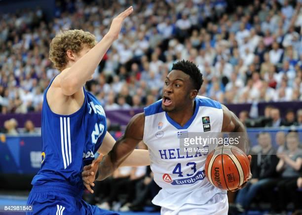Lauri Markkanen of Finland and Thanasis Antetokounmpo of Greece during the FIBA Eurobasket 2017 Group A match between Greece and Finland on September...