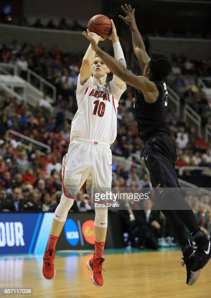 Lauri Markkanen of the Arizona Wildcats attempts a shot against the Xavier Musketeers during the 2017 NCAA Men's Basketball Tournament West Regional...