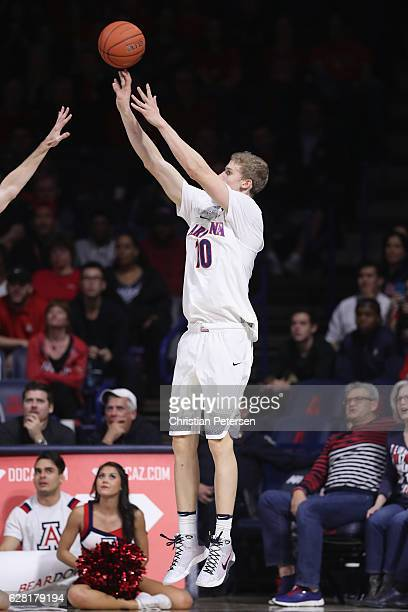 Lauri Markkanen of the Arizona Wildcats attempts a three point shot against the UC Irvine Anteaters during the second half of the college basketball...
