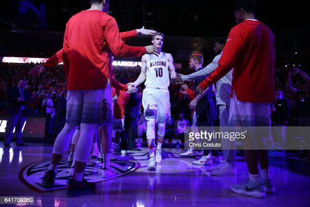 Lauri Markkanen of the Arizona Wildcats is introduced before the start of the college basketball game against the Stanford Cardinal at McKale Center...