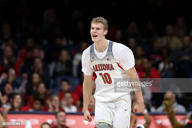 Lauri Markkanen of the Arizona Wildcats reacts after a dunk during the second half of the NCAA college basketball game against the Texas Southern...