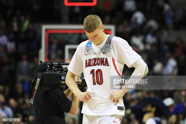 Lauri Markkanen of the Arizona Wildcats reacts to their 71 to 73 loss ot the Xavier Musketeers during the 2017 NCAA Men's Basketball Tournament West...