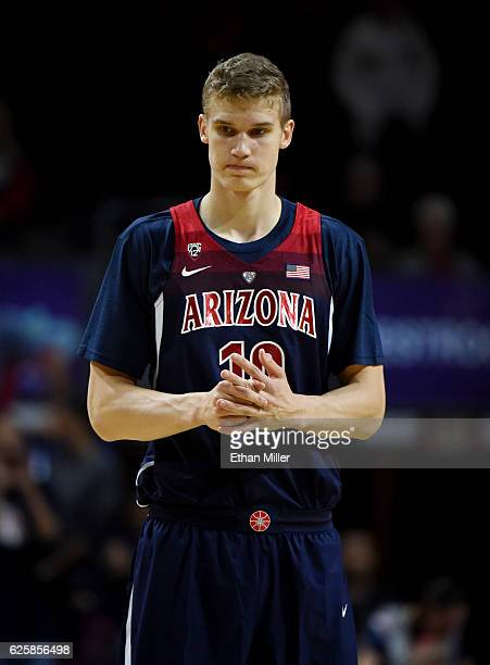 Lauri Markkanen of the Arizona Wildcats stands on the court before taking on the Butler Bulldogs in the championship game of the 2016 Continental...