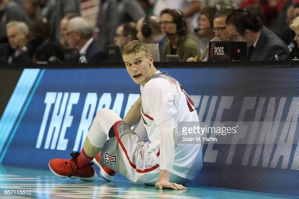 Lauri Markkanen of the Arizona Wildcats waits to sub in against the Xavier Musketeers during the 2017 NCAA Men's Basketball Tournament West Regional...