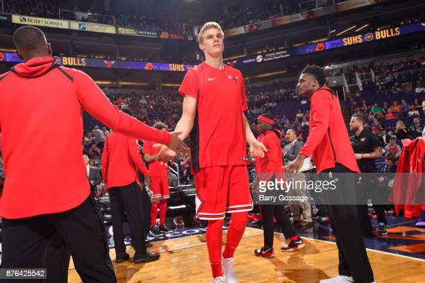 Lauri Markkanen of the Chicago Bulls gets introduced before the game against the Phoenix Suns on November 19 2017 at Talking Stick Resort Arena in...