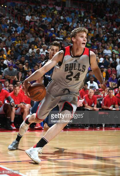 Lauri Markkanen of the Chicago Bulls goes to the basket against the Dallas Mavericks on July 8 2017 at the Thomas Mack Center in Las Vegas Nevada...