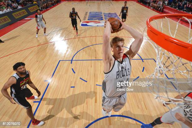 Lauri Markkanen of the Chicago Bulls goes up for a dunk against the Atlanta Hawks during the 2017 Las Vegas Summer League on July 10 2017 at the Cox...
