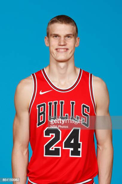 Lauri Markkanen of the Chicago Bulls poses for a head shot during NBA Media Day on September 25 2017 at the Advocate Center in Chicago Illinois NOTE...