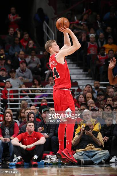 Lauri Markkanen of the Chicago Bulls shoots the ball against the Indiana Pacers on November 10 2017 at the United Center in Chicago Illinois NOTE TO...