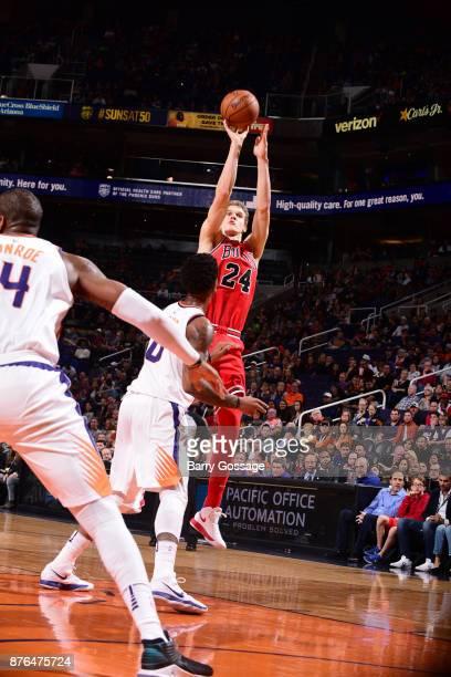 Lauri Markkanen of the Chicago Bulls shoots the ball against the Phoenix Suns on November 19 2017 at Talking Stick Resort Arena in Phoenix Arizona...