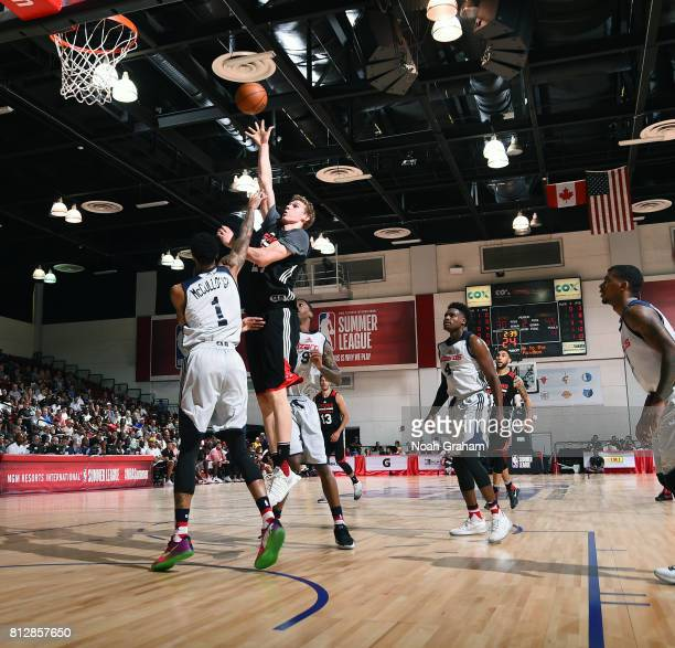 Lauri Markkanen of the Chicago Bulls shoots the ball against the Washington Wizards during the 2017 Summer League on July 11 2017 at Cox Pavillion in...