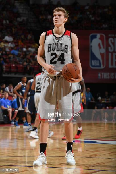 Lauri Markkanen of the Chicago Bulls stands on court in a game against the Dallas Mavericks on July 8 2017 at the Thomas Mack Center in Las Vegas...