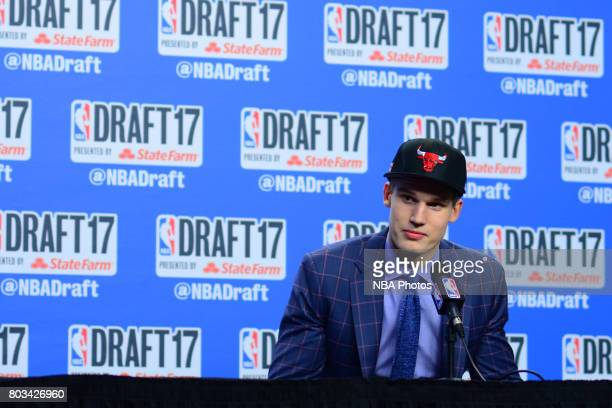 Lauri Markkanen speaks with the media after being selected seventh overall by the Chicago Bulls at the 2017 NBA Draft on June 22 2017 at Barclays...