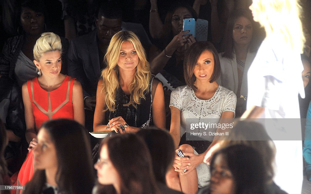 Lauriana Mae, <a gi-track='captionPersonalityLinkClicked' href=/galleries/search?phrase=Heidi+Klum&family=editorial&specificpeople=178954 ng-click='$event.stopPropagation()'>Heidi Klum</a> and <a gi-track='captionPersonalityLinkClicked' href=/galleries/search?phrase=Giuliana+Rancic&family=editorial&specificpeople=556124 ng-click='$event.stopPropagation()'>Giuliana Rancic</a> attend the BCBGMAXAZRIA show during Spring 2014 Mercedes-Benz Fashion Week at The Theatre at Lincoln Center on September 5, 2013 in New York City.