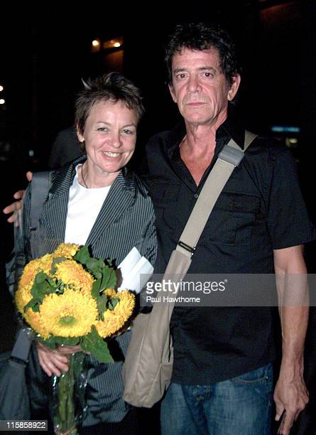 Laurie Anderson and Lou Reed during 2003 Howl Festival Lou Reed And Friends FEVA Benefit Reading New York City at Joe's Pub in New York New York...