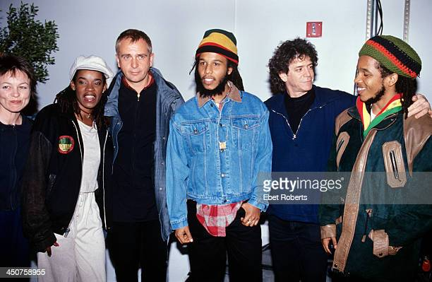 Laurie Anderson Sharon Marley Peter Gabriel Ziggy Marley Lou Reed and Stephen Marley at a Witness Party at Chelsea Piers in New York City on December...