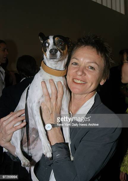 Laurie Anderson shows off her rat terrier Lola at the Gagosian Gallery on W 24th St where Canine Cocktail 2003 was being held to benefit Art for...