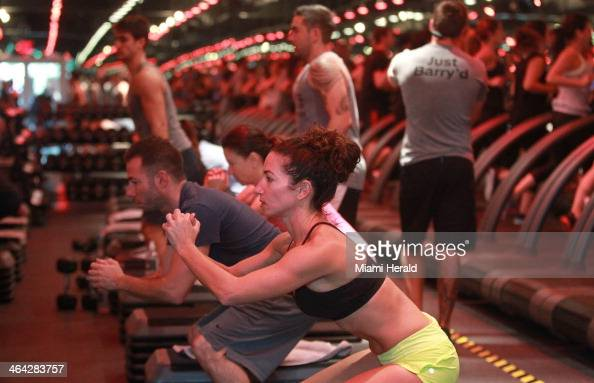 Laurie Brickman center works out at Barry's Bootcamp in Miami Beach Fla on Jan 11 2014