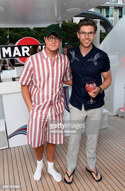 Laurie Calvert and Darren Kennedy celebrate the Monaco Grand Prix at the Martini Yacht Party on May 26 2017 in Monte Carlo Monaco