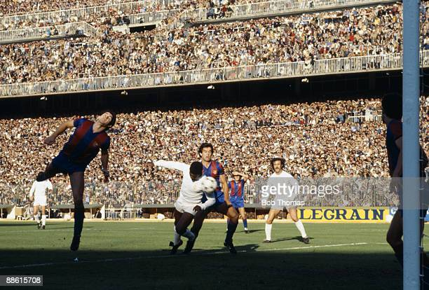 Laurie Cunningham heads Real Madrid's winning goal in their 32 victory over Barcelona at the Bernabeu Stadium in Madrid 1980