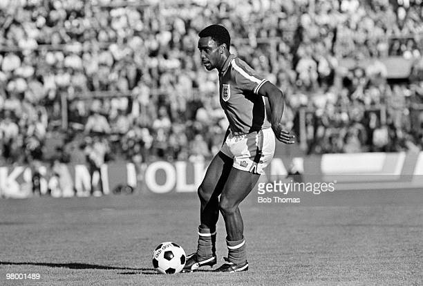 Laurie Cunningham in action for England during the friendly International against Sweden at the Rasunda Stadium in Stockholm 10th June 1979 The match...