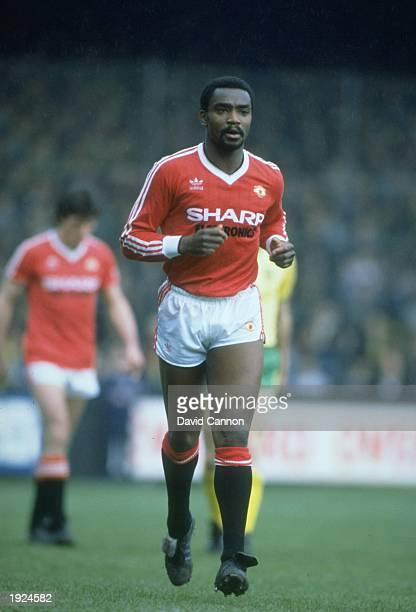 Laurie Cunningham of Manchester United runs into position during a Football League Division One match against Norwich City at Old Trafford in...