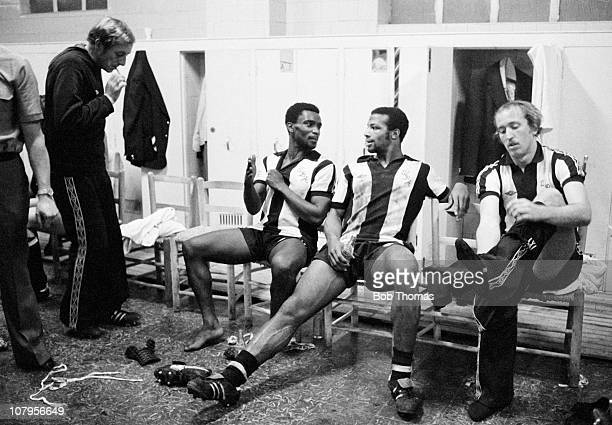 Laurie Cunningham of West Bromwich Albion with his teammate Cyrille Regis in the dressing room after Albion's UEFA Cup tie against Valencia in Spain...