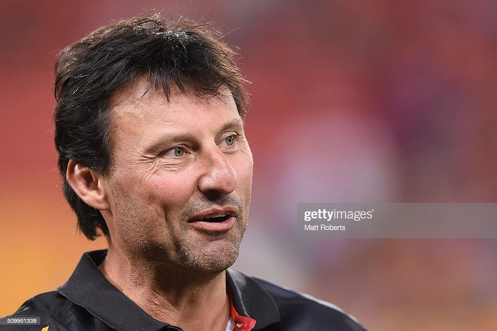 <a gi-track='captionPersonalityLinkClicked' href=/galleries/search?phrase=Laurie+Daley&family=editorial&specificpeople=566873 ng-click='$event.stopPropagation()'>Laurie Daley</a> of the Indigenous All Stars looks on after the NRL match between the Indigenous All-Stars and the World All-Stars at Suncorp Stadium on February 13, 2016 in Brisbane, Australia.