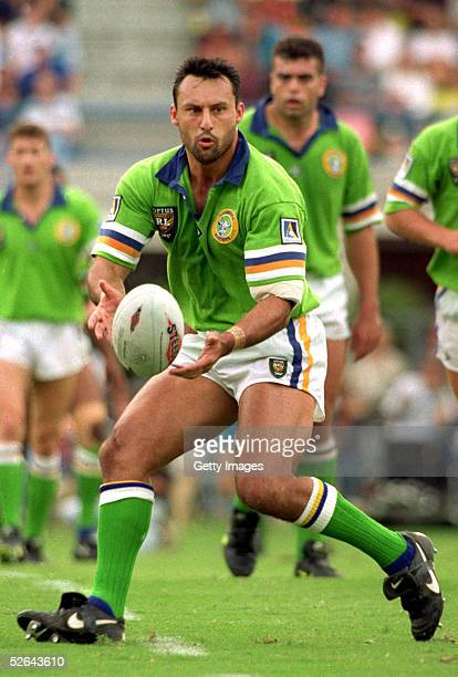 Laurie Daley of the Raiders in action during a ARL match between the Brisbane Broncos and the Canberra Raiders May 12 1996 in Brisbane Australia