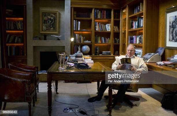 Laurie Dippenaar the former CEO of FirstRand reads a book in his home office in his house on June 9 2008 in Bryanstown outside Johannesburg South...