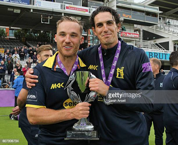 Laurie Evans and Chris Wright of Warwickshire celebrate winning the Royal London OneDay Cup Final after beating Surrey at Lord's Cricket Ground on...