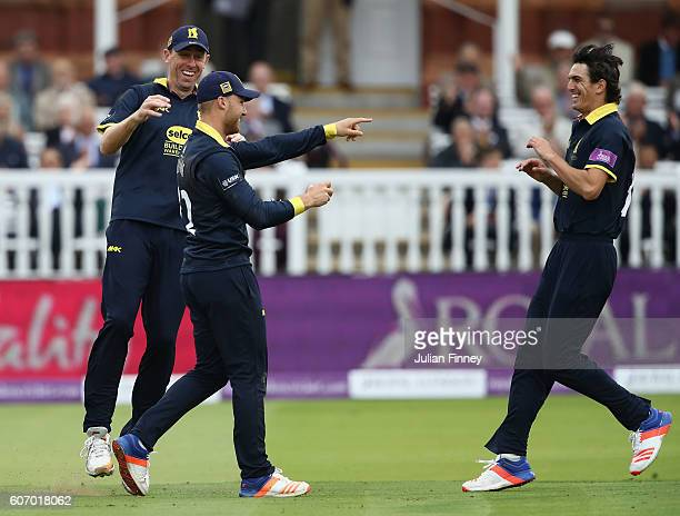 Laurie Evans of Warwickshire is celebrates catching out Jason Roy of Surrey off the bowling of Chris Wright during the Royal London oneday cup final...