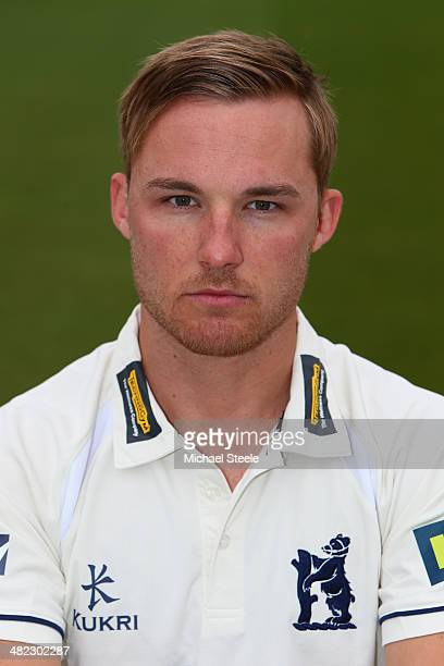 Laurie Evans of Warwickshire poses in the LV County kit during the Warwickshire CCC photocall at Edgbaston on April 3 2014 in Birmingham England