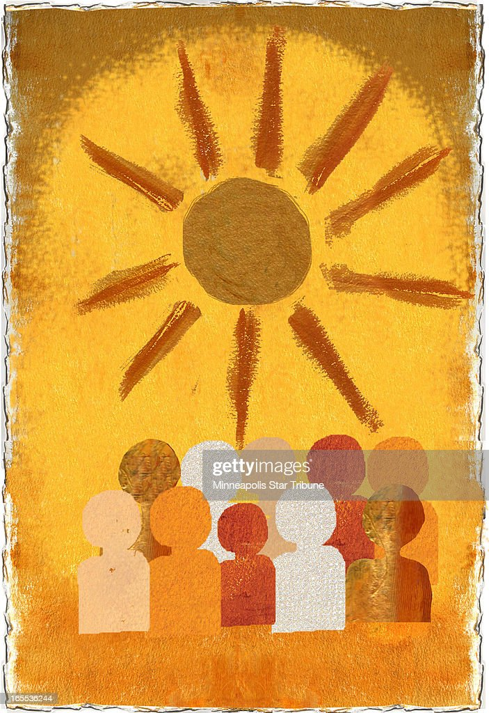 Laurie Harker color illustration of sun shining over multicolored population