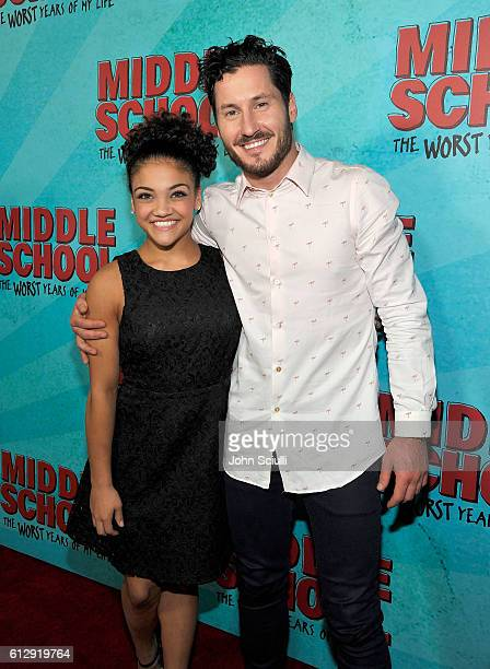 Laurie Hernandez and Valentin Chmerkovskiy attend the Los Angeles red carpet screening of 'Middle School The Worst Years Of My Life' at TCL Chinese...